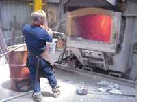 Melting aluminium alloy in the furnace