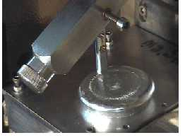 Zinc alloy sample being tested in our spectrometer